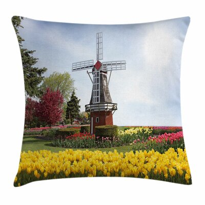 Windmill Decor Serene Garden Square Pillow Cover Size: 18 x 18