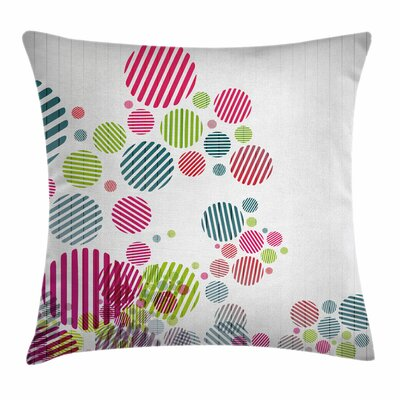 Striped Dots Square Pillow Cover Size: 16 x 16