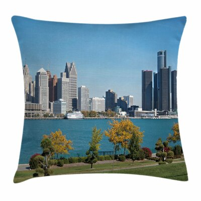 Detroit Decor Industrial Center Square Pillow Cover Size: 24 x 24