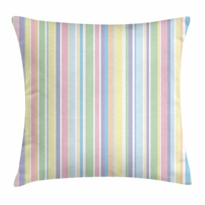 Pastel Striped Classic Pattern Square Pillow Cover Size: 24 x 24