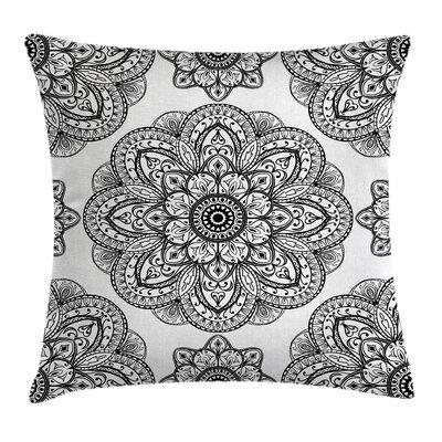 Ornate Mandala Patterns Square Pillow Cover Size: 18 x 18