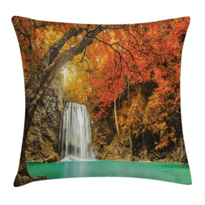 Waterfall Autumn Nature Forest Square Pillow Cover Size: 24 x 24