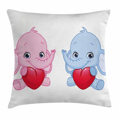 Elephant Hearts Twins Square Pillow Cover Size: 18 x 18