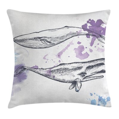 Whale Grunge Mammals Murky Art Square Pillow Cover Size: 16 x 16