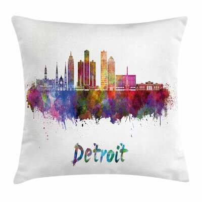 Detroit Decor Watercolor Art Square Pillow Cover Size: 18 x 18