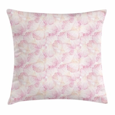 Pastel Flower Petals Square Pillow Cover Size: 24 x 24