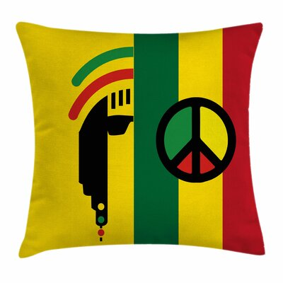 Rasta Reggae Music Peace Symbol Square Pillow Cover Size: 18 x 18
