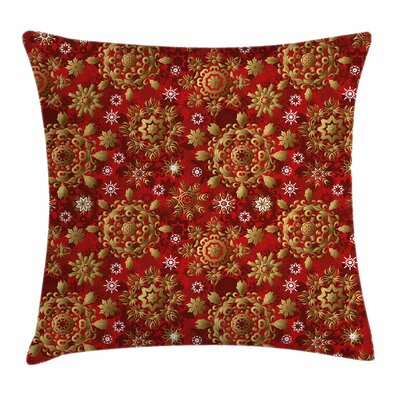 Xmas Floral Ornament Square Pillow Cover Size: 16 x 16