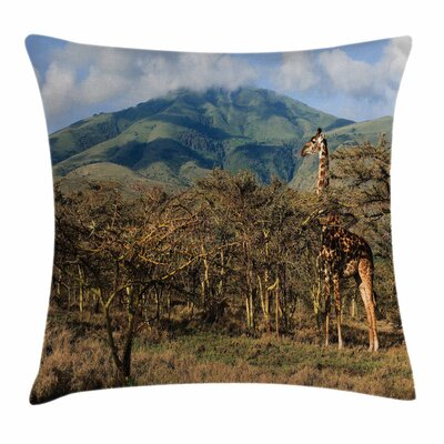 Zoo Giraffe Trees Africa Safari Square Pillow Cover Size: 24 x 24