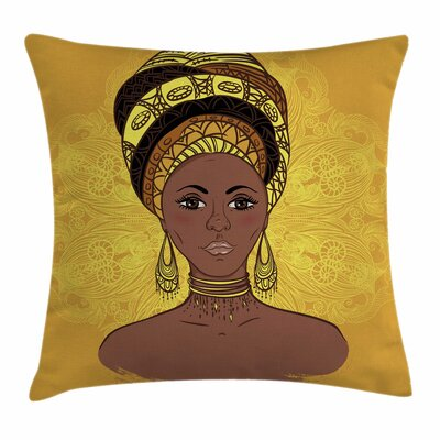 African Woman Tribal Portrait Square Pillow Cover Size: 18 x 18