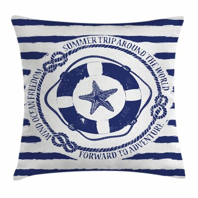 Starfish Decor Life Buoy Trip Square Pillow Cover Size: 24 x 24