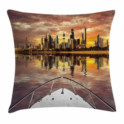 Kuwait Cityscape Square Pillow Cover Size: 24