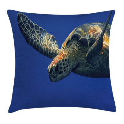 Cute Sea Turtle Swimming Square Pillow Cover Size: 16 x 16