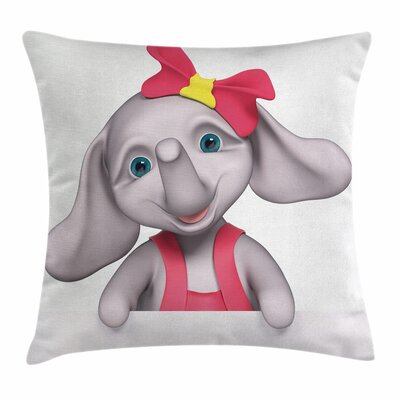 Elephant Smiling Girl Square Pillow Cover Size: 24 x 24