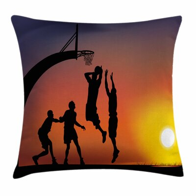 Teen Room Decor Boys Basketball Square Pillow Cover Size: 24 x 24