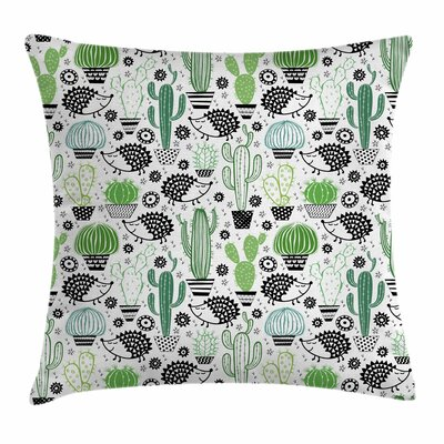 Cactus Hedgehog Saguaro Square Pillow Cover Size: 18 x 18