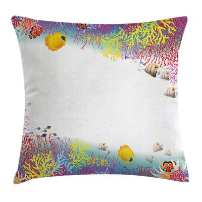 Kids Aquatic Animals Fish Square Pillow Cover Size: 16 x 16