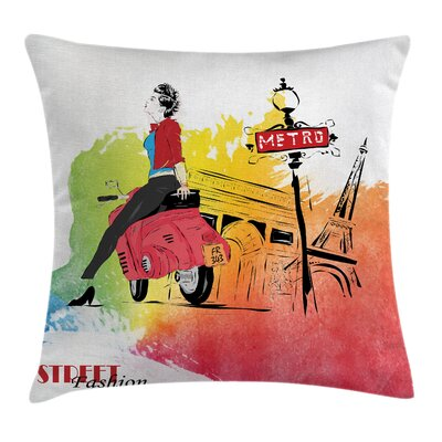 Eiffel Tower Street Fashion Square Pillow Cover Size: 18 x 18