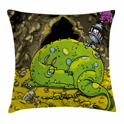 Dragon Cute Creature Sleeping Square Pillow Cover Size: 20 x 20