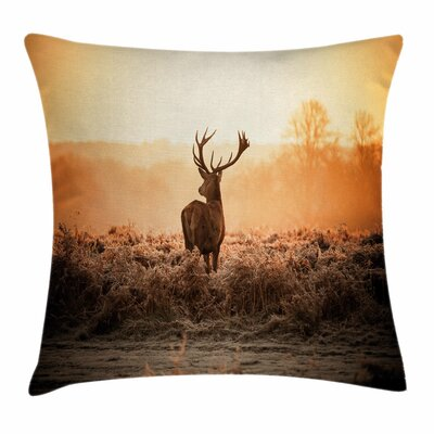 Deer Morning Sun Square Pillow Cover Size: 16 x 16