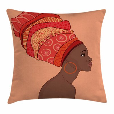 African Woman Young Girl Turban Square Pillow Cover Size: 24 x 24
