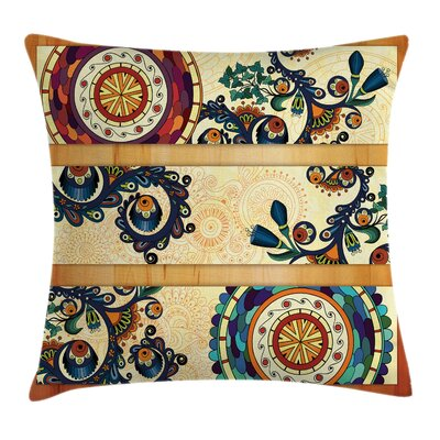Paisley Decor Eastern Batik Square Pillow Cover Size: 18 x 18