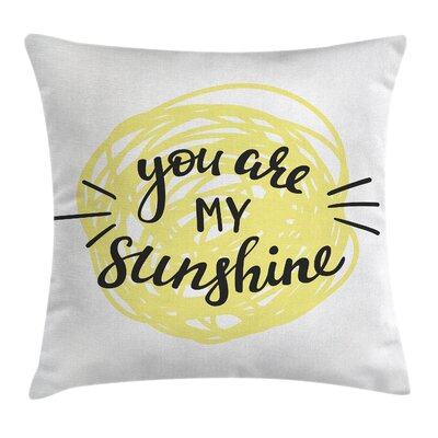 Hand Drawn Sun Romance Square Pillow Cover Size: 18 x 18