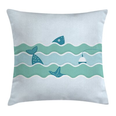 Waves Fishing Art Square Pillow Cover Size: 16 x 16