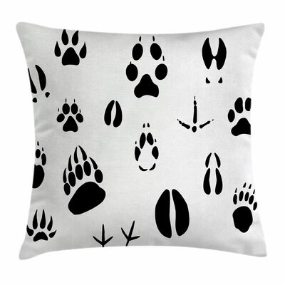 Hunting Decor Animal Footprints Square Pillow Cover Size: 18 x 18