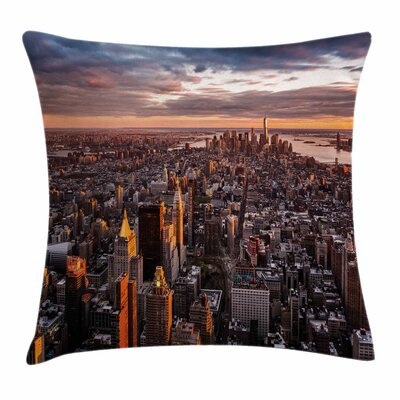 Manhattan Skyline Sunset Square Pillow Cover Size: 18 x 18