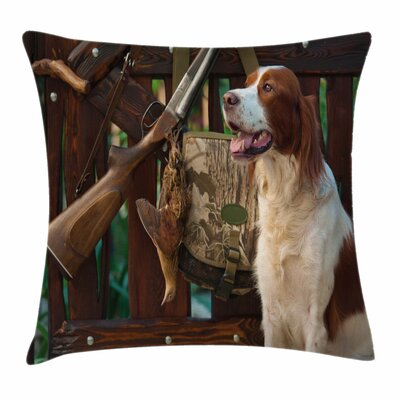 Dog Rifle Duck Square Pillow Cover Size: 18 x 18