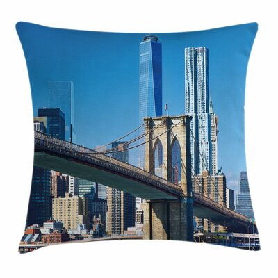 United States Manhattan Skyline Square Pillow Cover Size: 24 x 24