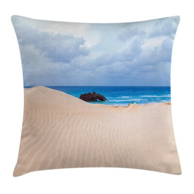 Beach Wreck Boat on the Coast Square Pillow Cover Size: 24 x 24
