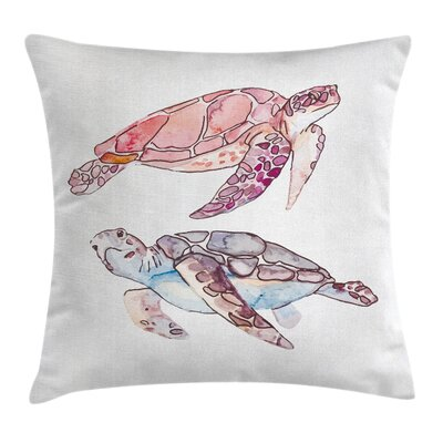 Turtle Artwork Square Pillow Cover Size: 16 x 16