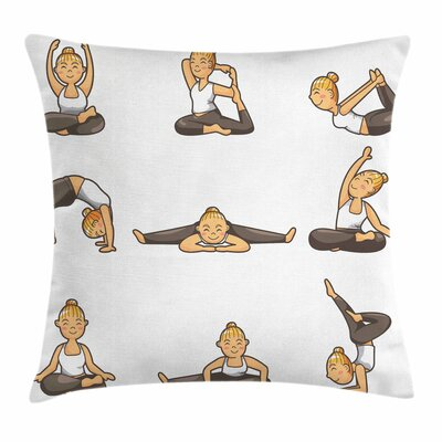 Yoga Girl Positions Aerobics Square Pillow Cover Size: 16 x 16