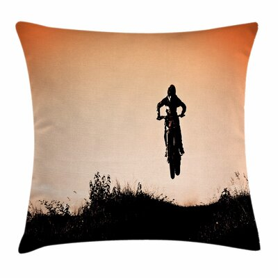 Teen Room Decor Motorbike Jump Square Pillow Cover Size: 16 x 16