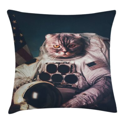 Space Cat American Flag Helmet Square Pillow Cover Size: 16 x 16