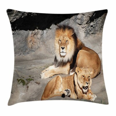 Zoo Lions Basking Pillow Cover Size: 18 x 18