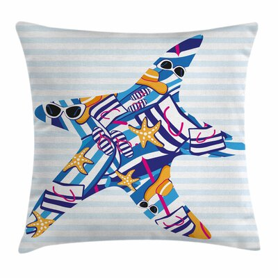 Starfish Decor Cartoon Sea Star Square Pillow Cover Size: 18 x 18