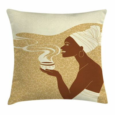 African Woman Happy Afro Lady Square Pillow Cover Size: 24