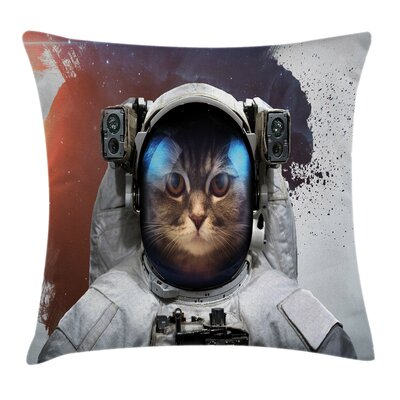 Space Cat Grunge Cosmonaut Suit Square Pillow Cover Size: 16 x 16