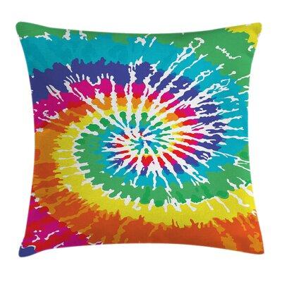 Rainbow Tie Dye Grunge Square Pillow Cover Size: 18 x 18