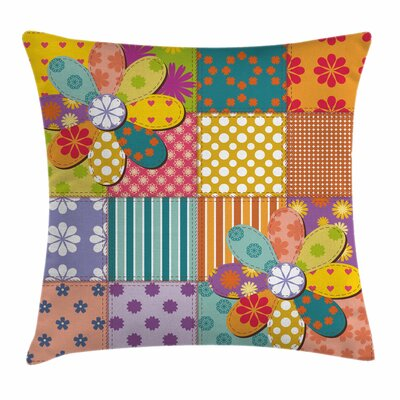 Colorful Flower Polka Dots Mix Square Pillow Cover Size: 16 x 16