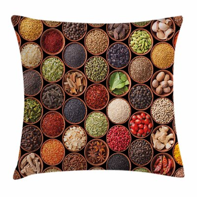 Kitchen Herbs Spices Square Pillow Cover Size: 24 x 24