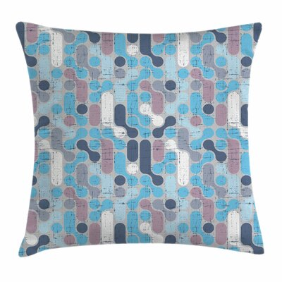 Grunge Retro Rounds Square Pillow Cover Size: 24 x 24