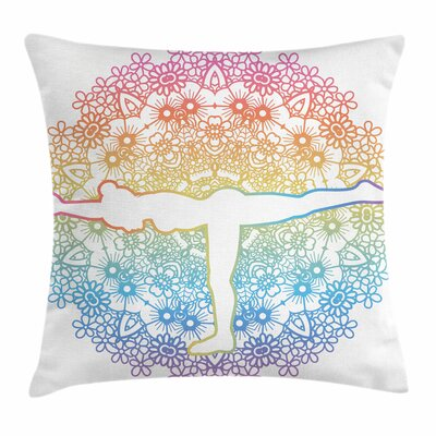 Yoga Woman Pillow Cover Size: 24 x 24