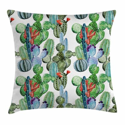 "Cactus Various Types Art Square Pillow Cover Size: 18"" x 18"" ESUN9449 44271135"