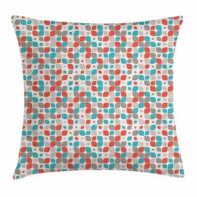 Retro Abstract Mosaic Floral Square Pillow Cover Size: 16 x 16