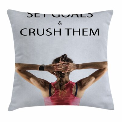 Fitness Athletic Model Woman Square Pillow Cover Size: 16 x 16