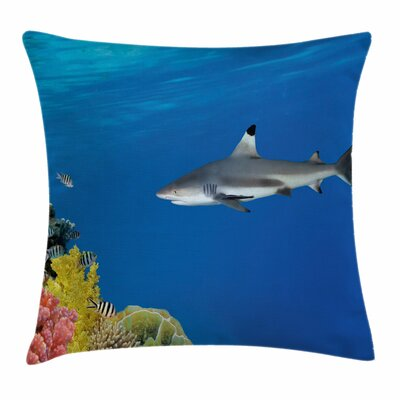 Shark Tropic Underwater World Square Pillow Cover Size: 16 x 16